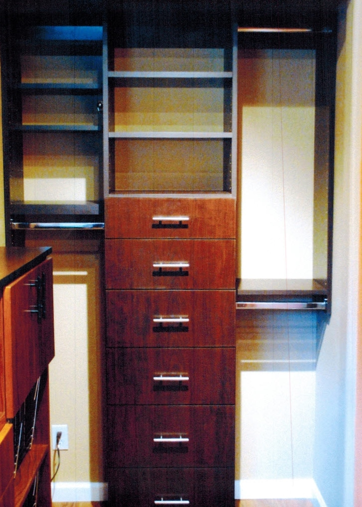 It Has Storage Cubes, Shelving And Hanging Mechanism. The Next Part Is  Another Storage Cabinet Made With A Walnut Wood . It Has Pullout Baskets  With Behind ...